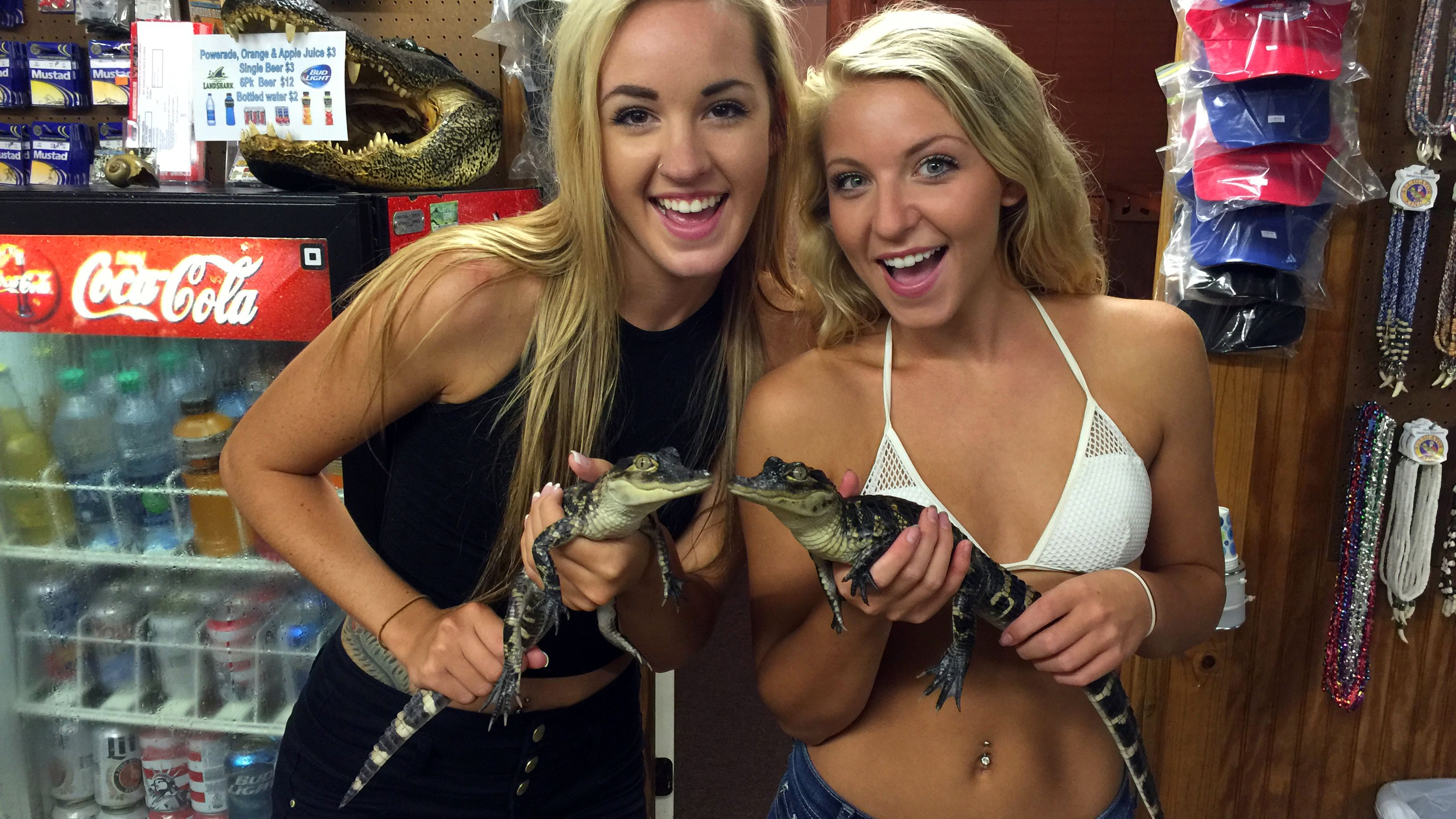Two women holding baby Alligators
