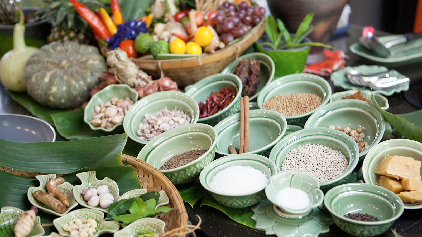 View of the ingredients on the Thai cooking class in Bangkok
