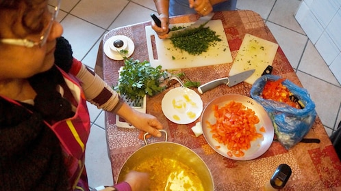 People prep ingredients for cooking class in Casablanca