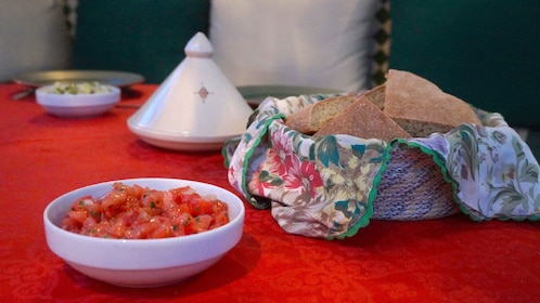 Bread and salsa on table in cooking class in Casablanca
