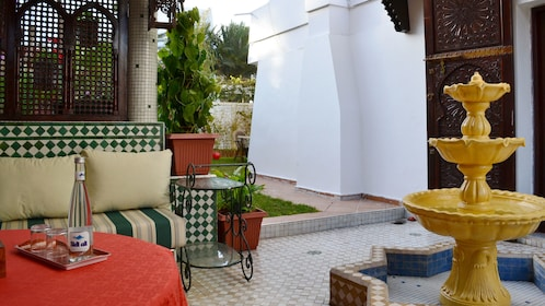 Patio with fountain and seating area in Casablanca