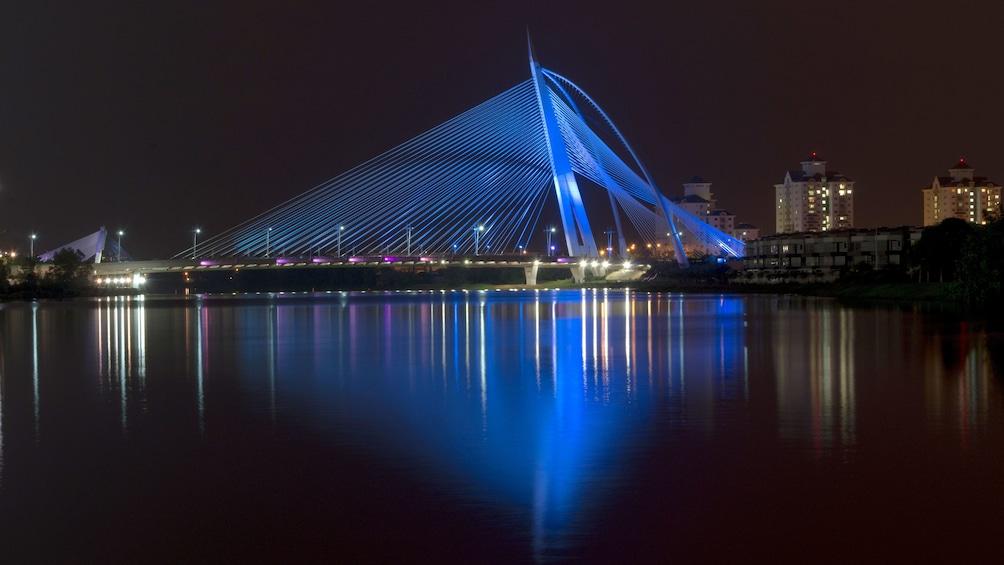Bridge lit at night in Putrajaya