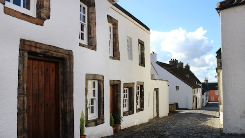 View of buildings used for the fictional village of Cranesmuir in Outlander TV show