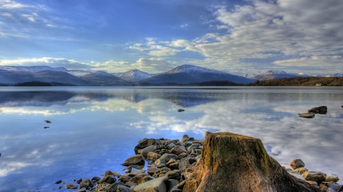 View from shore of Loch Lomond in Scotland
