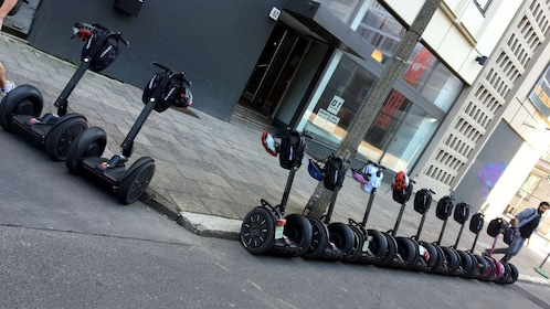 Row of parked segways in Berlin