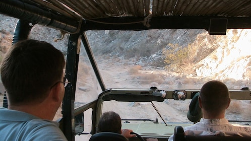 View from inside a Hummer on a dirt road in Joshua Tree National Park in Palm Springs