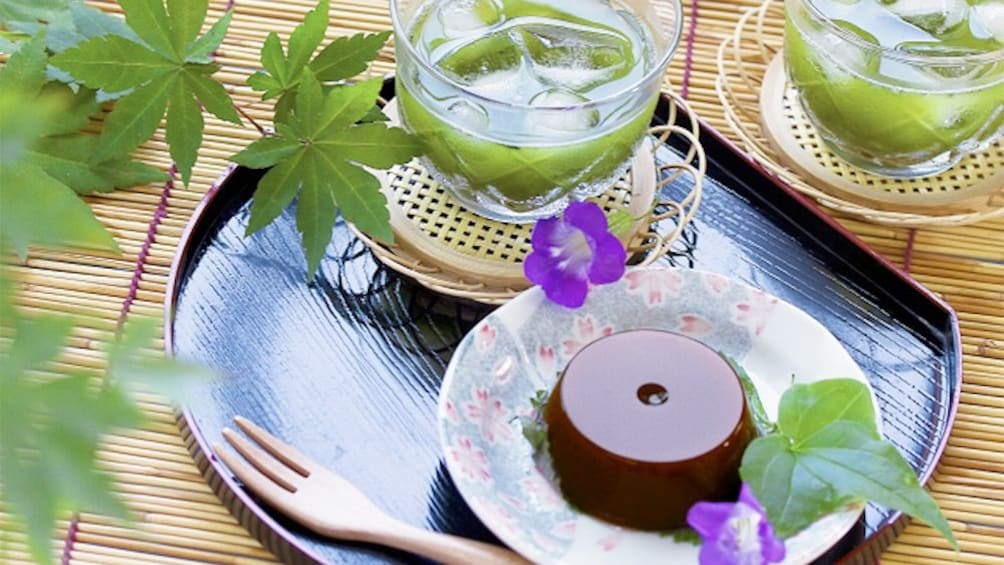 Tea and dessert on the Japanese Sweets Cooking Experience in Tokyo