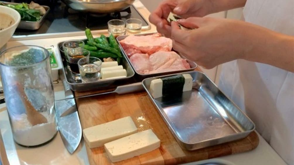 Show item 2 of 9. Food preparation on the Traditional Japanese Food Cooking Class in Tokyo