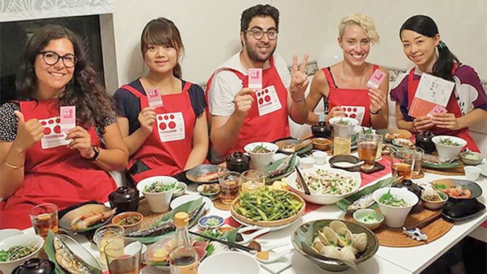 Show item 1 of 9. Group enjoying the Traditional Japanese Food Cooking Class in Tokyo