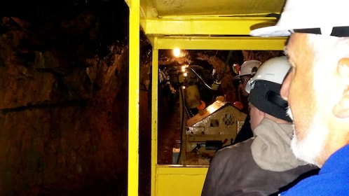 Tours with hardhats ride tramp into mine in British Columbia
