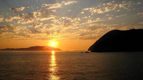 Sunset view of beautiful San Juan Islands in Washington