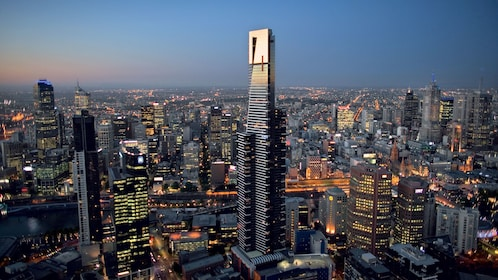 Magnificent view of the Eureka Tower a Skyscraper in Melbourne along with the city in Australia