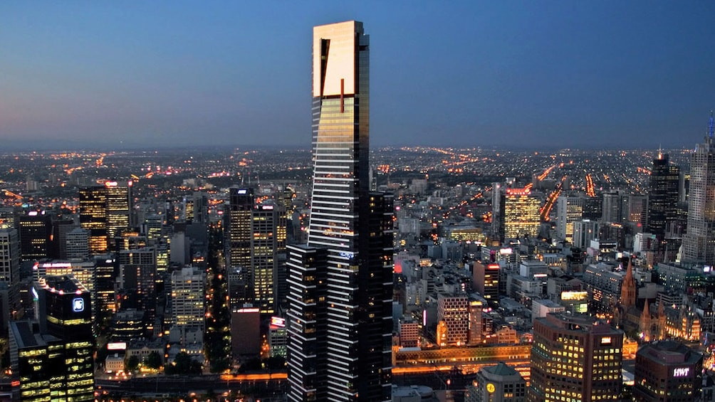 Show item 2 of 10. Eureka Tower rising over the city at night in Melbourne