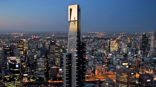 Eureka Tower rising over the city at night in Melbourne
