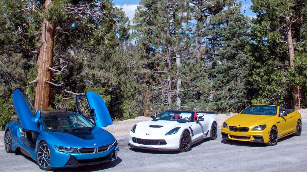 Show item 3 of 5. View of the available cars for the Angeles Forest Tour in Los Angeles, CA