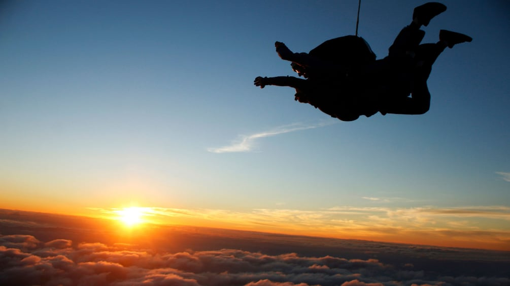 Show item 3 of 5. Tandem skydivers in mid flight at sunset in Atlanta