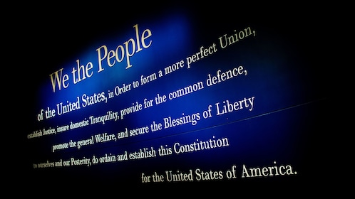 The beginning of the U.S. Constitution on the wall of the National Constitution Center in Philadelphia