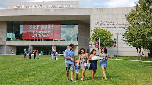 Family outside of the National Constitution Center in Philadelphia