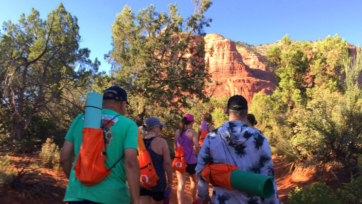 Hikers on a trail in Sedona