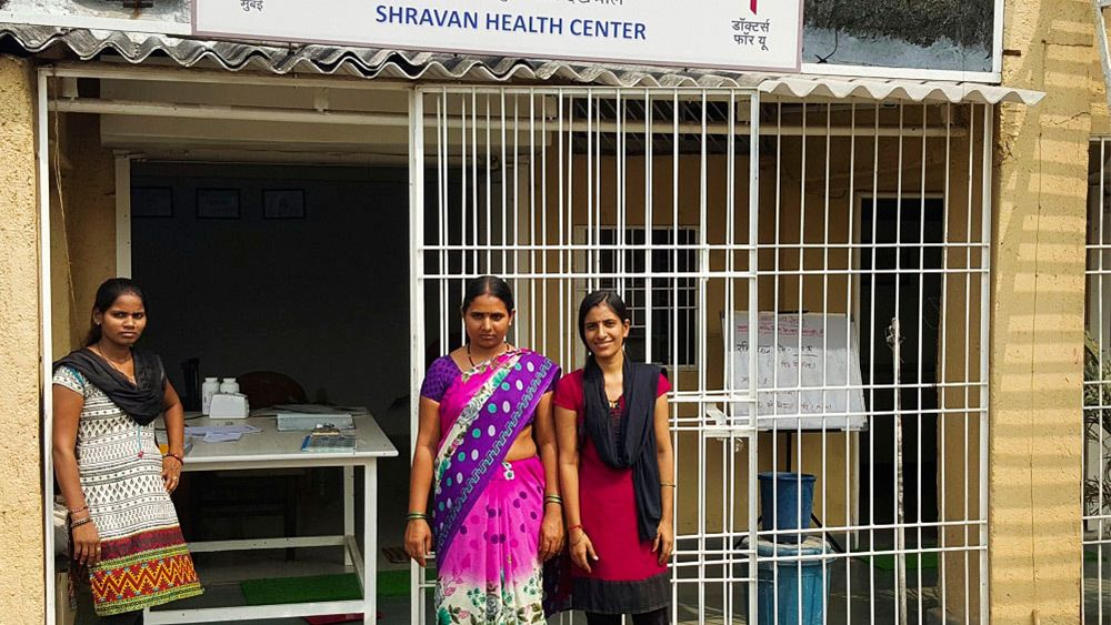 Women outside a health center in Mumbai
