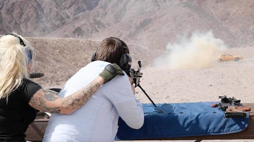 Guests on the Outdoor Shooting Experience in Las Vegas