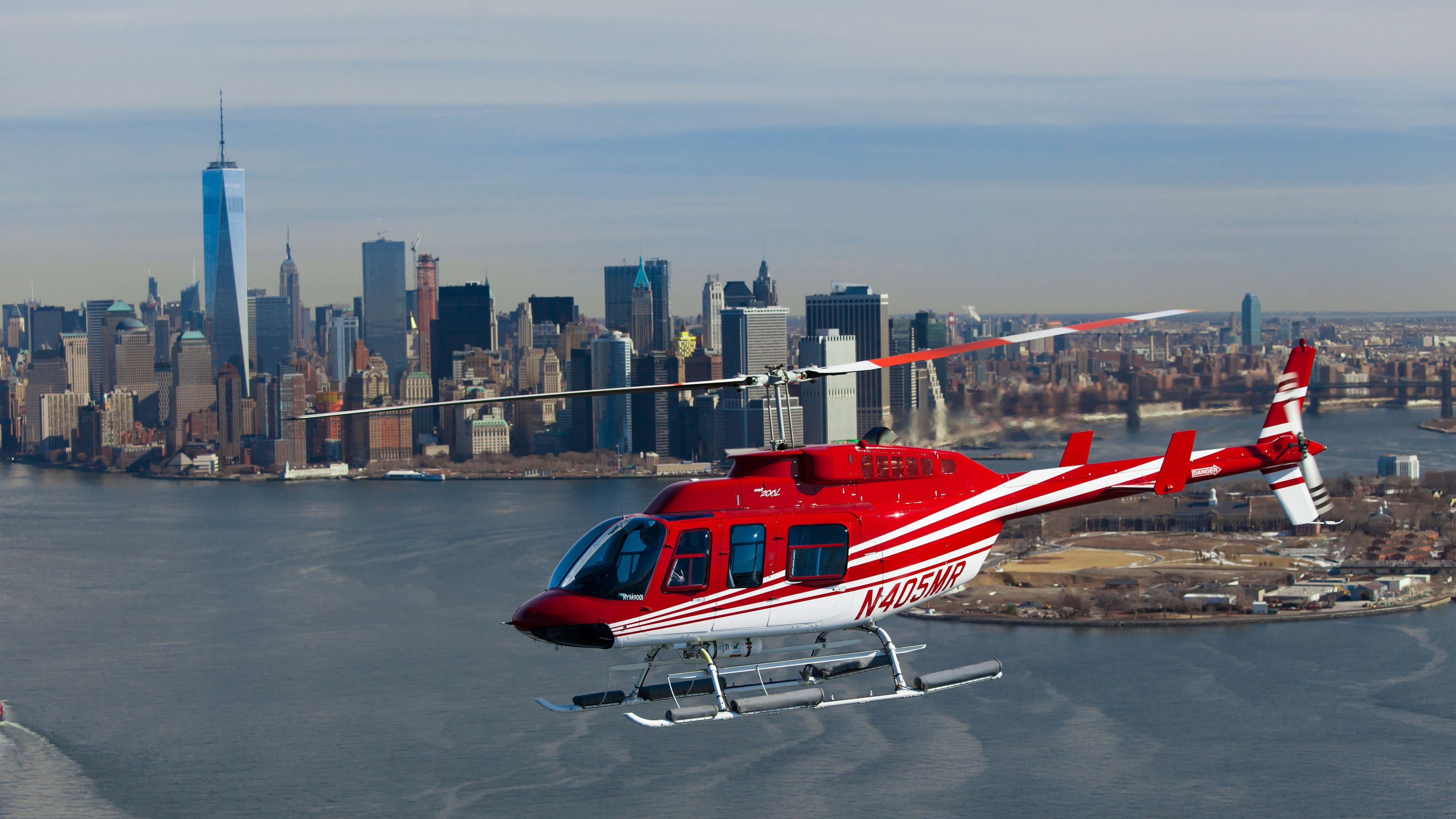 Helicopter with Manhattan in the background
