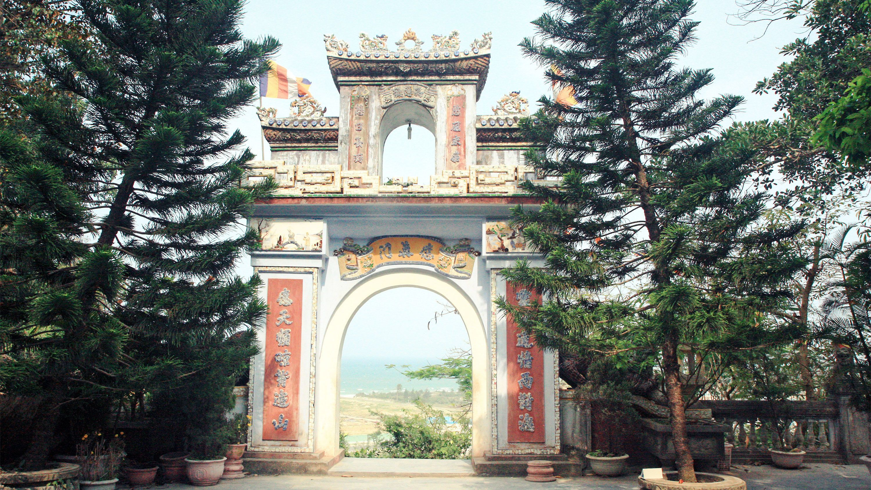 Gate at the Marble Mountain - Linh Ung Pagoda in Hanoi, Vietnam