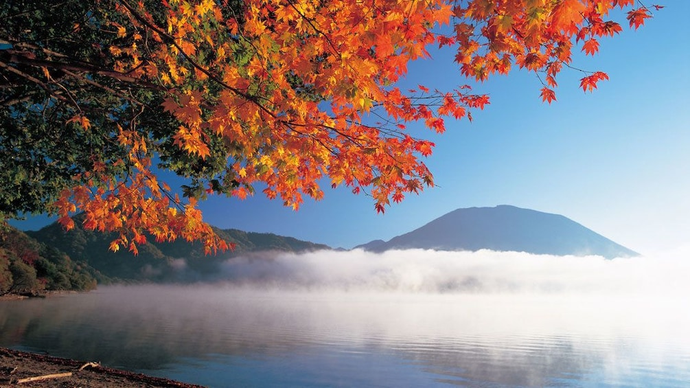 Fall colors on the trees as low lying clouds sit over the lake with mountain in background
