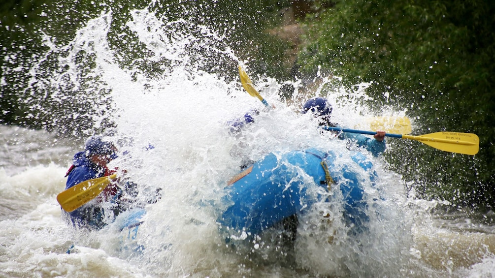 Show item 5 of 5. Rafters engulfed by rapids on Clear Creek in Denver