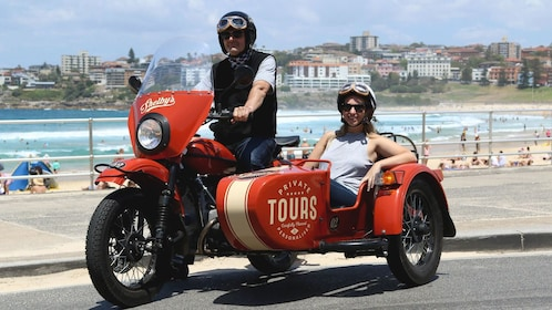 Couple on a motorcycle and sidecar in New South Wales