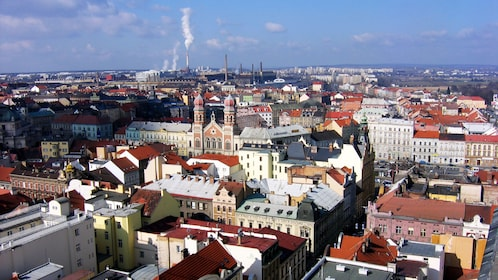 Ariel shot of the city of Plzen