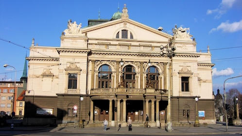 Exterior of opera house in Plzen