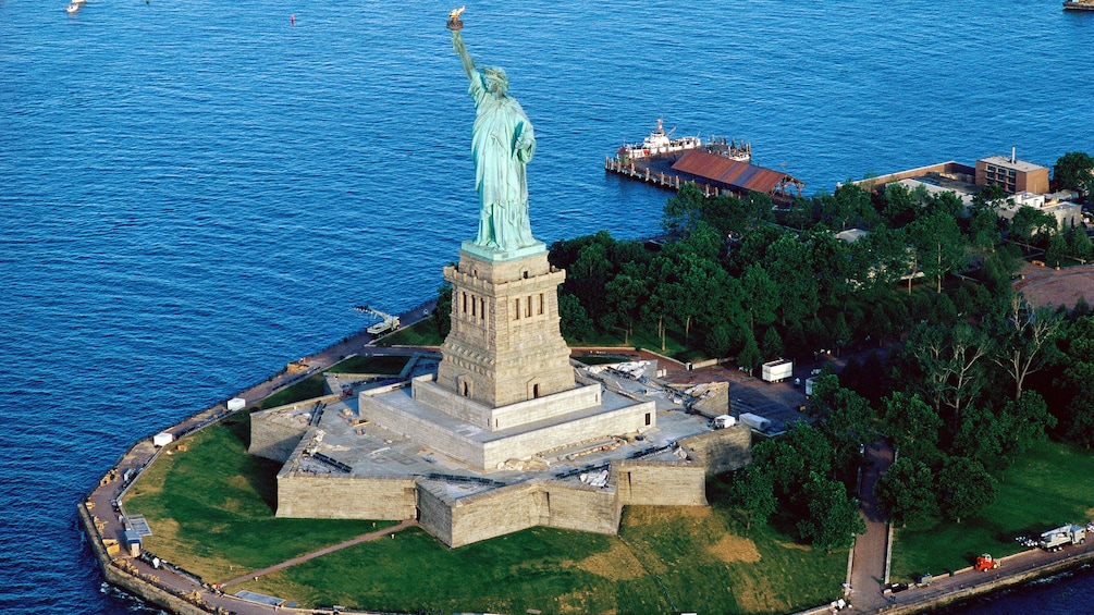 Show item 1 of 8. Ariel view of Statue of Liberty in New York