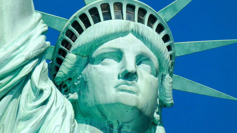 Show item 5 of 8. Close up of the face of Statue of Liberty in New York