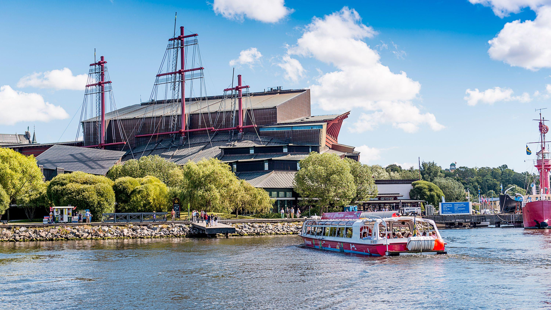 Hop-On Hop-Off Boat docking near naval museum in Stockholm