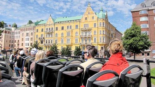 Passengers on a hop-on hop-off tour in Helsinki