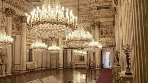 Multiple chandeliers in ballroom in Royal Palace in Turin