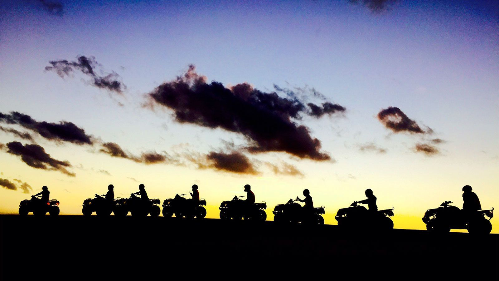 Sunset view of the quad bike tour in New South Wales Regional, NSW, Australia