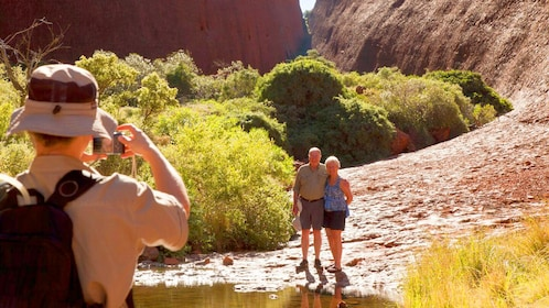 Couple poses for image on SEIT Kata Tjuta Domes tour in Australia