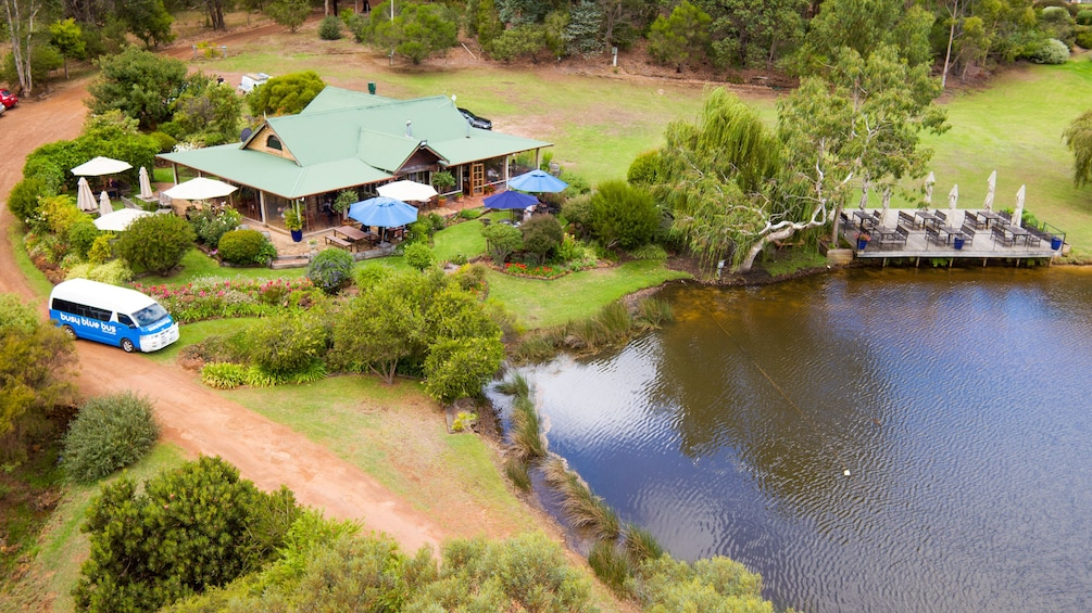 Ariel view of The Lake House restaurant in Denmark, Australia