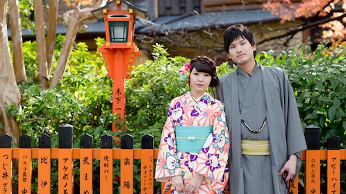 Couple in kimonos in Kyoto
