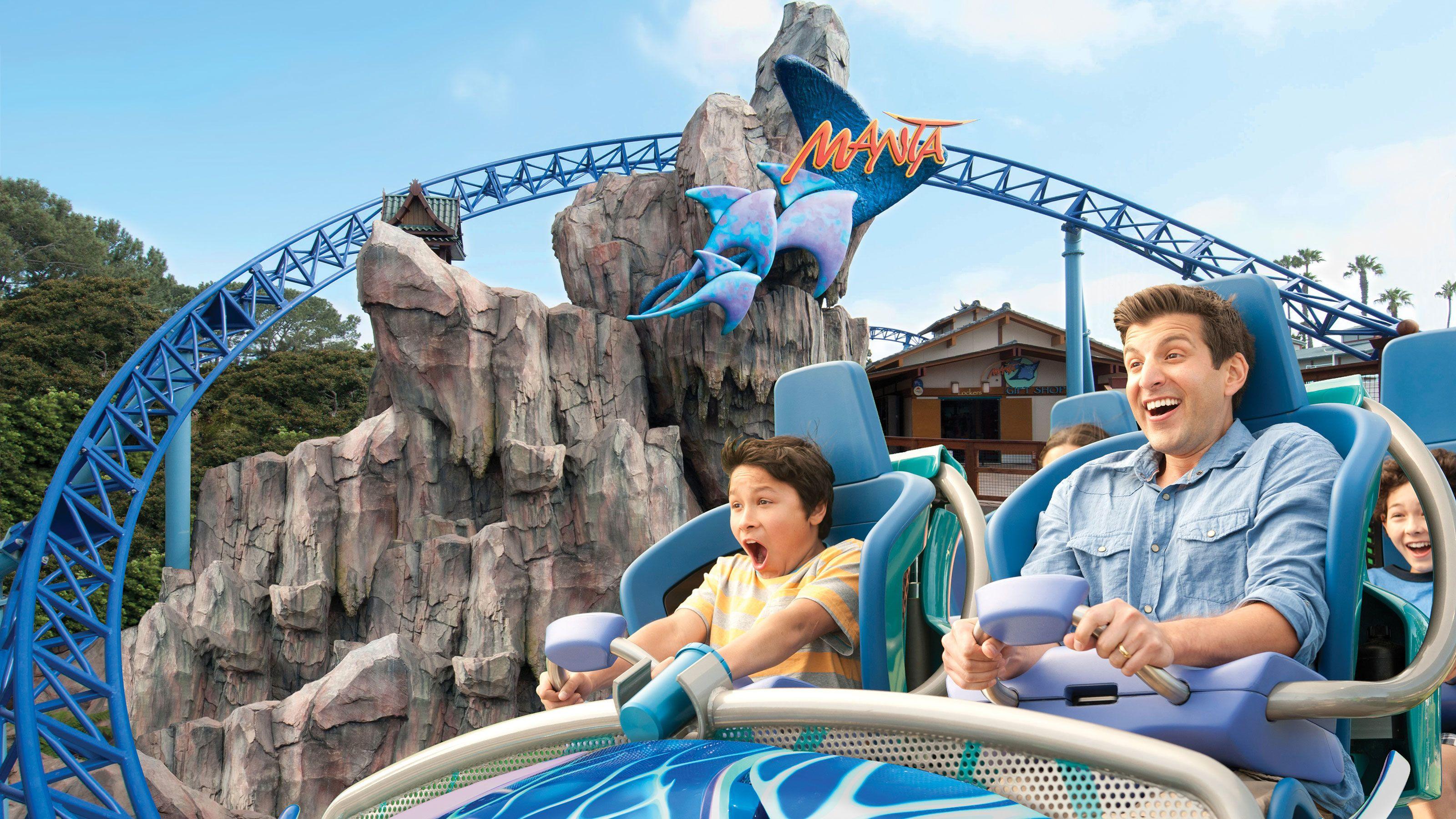 People enjoying Manta roller coaster at SeaWorld San Diego