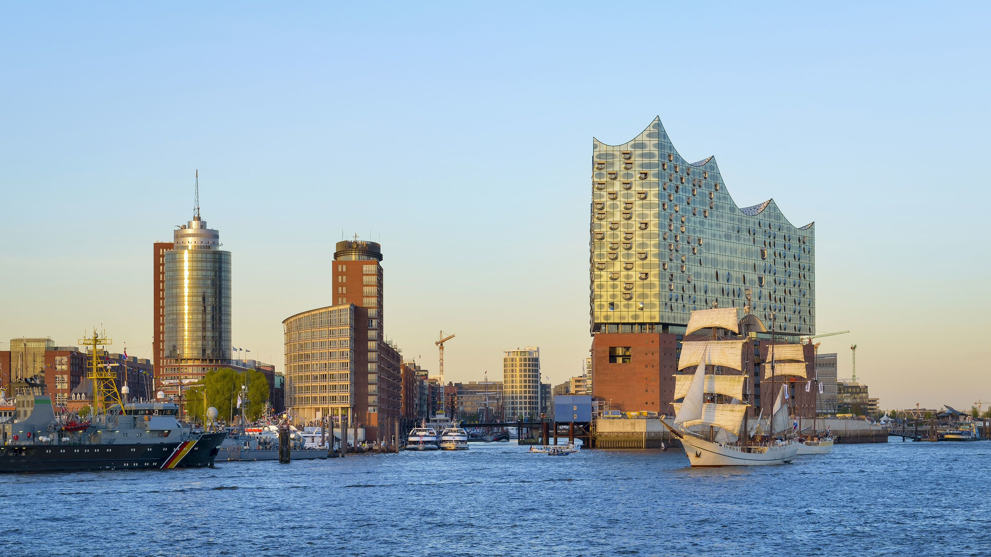 View from water way of Elbphilharmonie concert hall in Hamburg