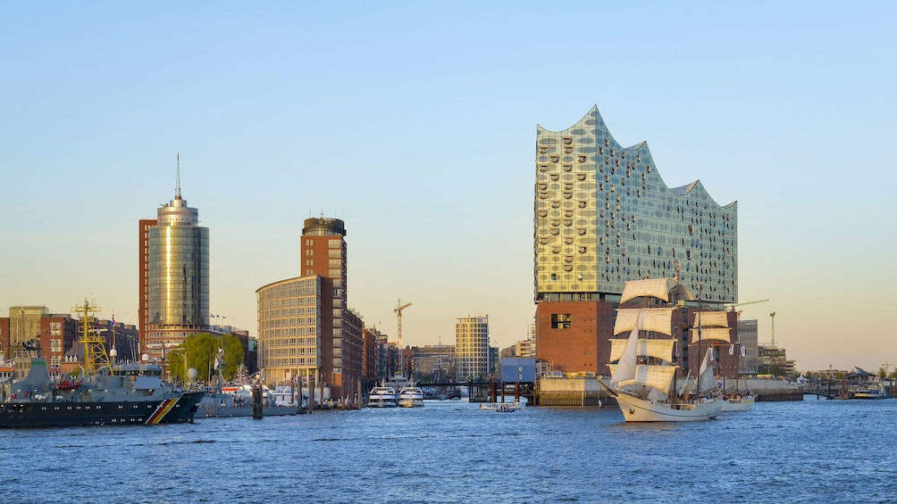 Show item 2 of 7. View from water way of Elbphilharmonie concert hall in Hamburg