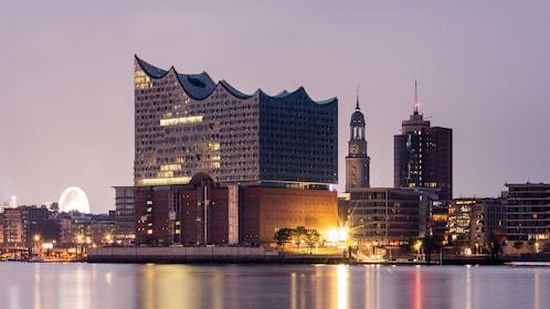 Elbphilharmonie concert hall shining at night in Hamburg
