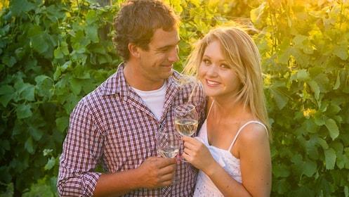Man and woman at a vineyard