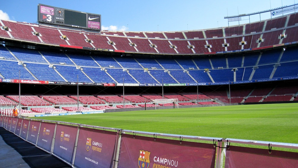 sunny day inside football stadium in Barcelona