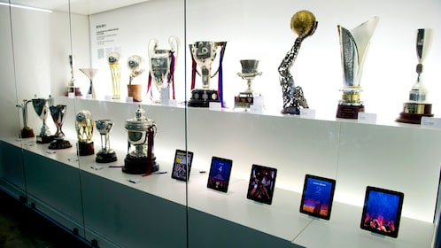 trophy case at football museum in Barcelona