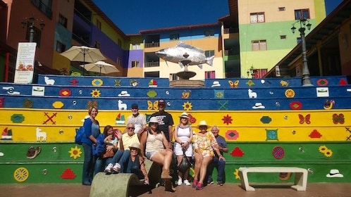 Group poses for picture in Guatapé