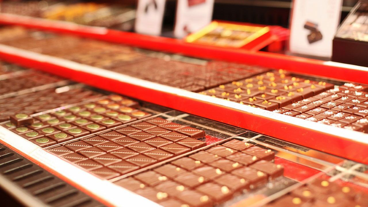Trays of chocolate on tour of Paris